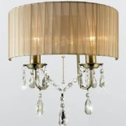 Olivia Wall Light in Antique Brass with a Soft Bronze Gauze Shade - DIYAS IL30064SB